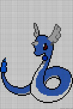 Dragonair Pokemon perler bead pattern