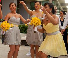 Grey dress yellow sash