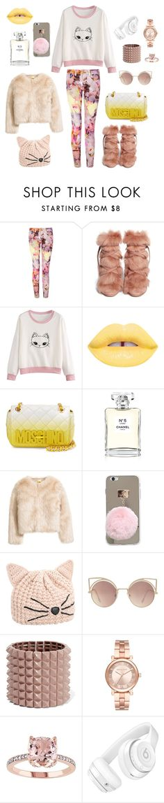 """""""Rose Gold"""" by chiara-calcagno ❤ liked on Polyvore featuring Ted Baker, Gianvito Rossi, Lime Crime, Moschino, Chanel, Karl Lagerfeld, MANGO, Valentino, Michael Kors and Beats by Dr. Dre"""
