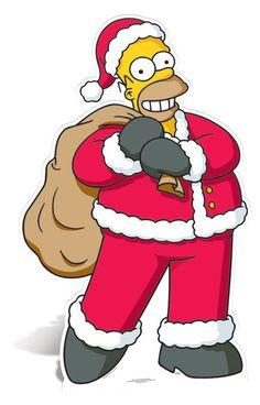 Lifesize Cardboard Cutout of Homer Simpson as Santa Claus