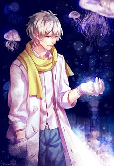 Tags: Anime, Sad, Jellyfish, Hand In Pocket, White Gloves, K.sum, Looking At Hands