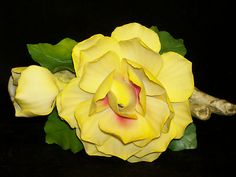 Vintage Capodimonte Porcelain Yellow Rose   Original Fabar Foil Sticker   Marked with N & Crown   Made in Italy