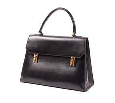 """Hermes Bag Drag 32cm black box fastner """"H"""" gold over flap handles"""