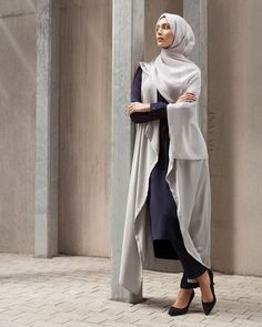 INAYAH | Transition from day to evening wear with INAYAH classics - Grey Nehru #Collar #Midi + Grey Straight Leg #Trousers + Pastel Grey #Sleeveless #Cover + Oyster Soft Crepe #Hijab www.inayah.co