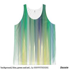background, blue, green and yellow strips All-Over-Print tank top Blue Green, Yellow, Printed Tank Tops, Print Tank, Shirts, Shopping, Design, Fashion, Moda