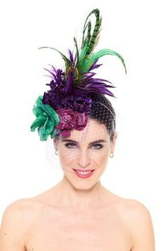 Do similar with the red flower piece. Floral Fascinators, Floral Headpiece, Headpiece Wedding, Bridal Headpieces, Bridal Hair, Lavender Hair Dye, Wedding Guest Looks, Derby Dress, Fascinator Headband