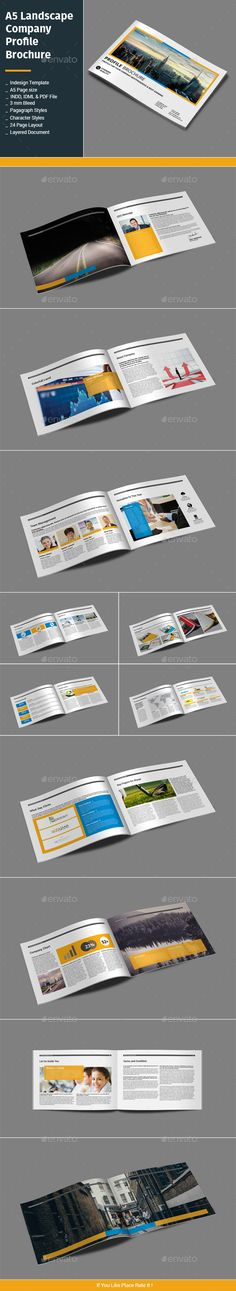 A5 Landscape Company Profile Brochure Template InDesign INDD. Download here: http://graphicriver.net/item/a5-landscape-company-profile-brochure/15699879?ref=ksioks