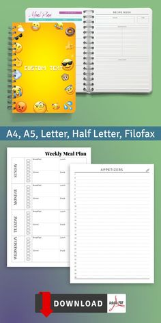 Simple and comfortable Daily Food Menu in original exclusive design. Planning allows you to track your diet and wellbeing in more detail. You can download in PDF format in A4, A5, letter size and half letter size. #food #template #journal #diary #day Diary Template, Food Menu Template, Meal Planner Template, Meal Planner Printable, Printables, Free Printable, Diet Diary, Food Diary, Lunch Snacks