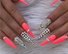 Dope Nails, Glam Nails, Bling Nails, My Nails, Glitter Nails, Bling Bling, Pink Gel Nails, Gel Nail Colors, Nail Swag