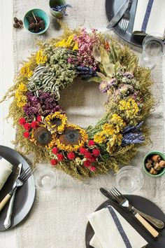 Dried Flower and Herb - Fabulous Fall Decorating Ideas - Southernliving. Create a dazzling kaleidoscope of colors…