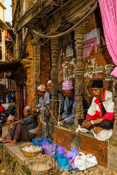 Taumadhi Square Street Vendors in Bhaktapur ~ Kathmandu Valley, Nepal