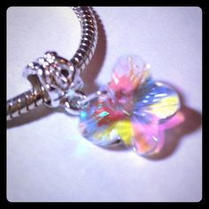 Butterfly Charm Dangle Multicolor faceted glass butterfly charm. Fits pandora. Silver tone. New! Jewelry
