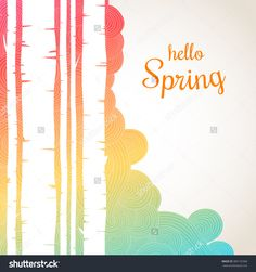 Hello Spring Lettering On A Waves Background. Spring Birch Forest Background. Colorful Template Greeting Card Stock Vector Illustration 389135968 : Shutterstock