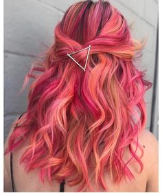 Pink Colorful Hair For Long Curly Hair , Stunning Colorful Hair Color Ideas . - - Pink Colorful Hair For Long Curly Hair , Stunning Colorful Hair Color Ideas to Try in 2018 , We shar. Cute Hair Colors, Pretty Hair Color, Beautiful Hair Color, Hair Dye Colors, Amazing Hair Color, Awesome Hair, Purple Hair, Ombre Hair, Pink And Orange Hair