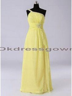 Elegant Chiffon Cheap Long Spaghetti Strap Yellow prom dress with Beads