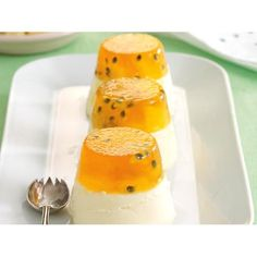 Give your usual panna cotta a tropical twist with this deliciously two-toned pineapple version by recipes+. They can be made ahead for any special occasion so, you can relax. Dariole Moulds, No Bake Desserts, Dessert Recipes, Serving Plates, Hot Sauce Bottles, Food Inspiration, Panna Cotta, Pineapple, Special Occasion