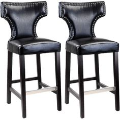 CorLiving Kings Bar Height Barstool with Metal Studs ($312) ❤ liked on Polyvore featuring home, furniture, stools, barstools, black, black furniture, colored furniture, black colored stool, black counter height bar stools and colored bar stools