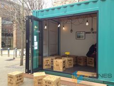 Container Conversions Pop-up Container Cafes – you can really make container pop-cafes stand out with striking branding, such as with vinyl wrapping and 'off the wall' décor.  Container cafes include self-contained kitchen/kitchenettes.  Fully weatherproof and secure for inside and outside use. Re-locatable as needed for festivals and other retail opportunities