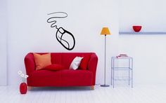 COMPUTER MOUSE GEEK CUTE DESIGN WALL VINYL STICKER MURAL ART DECAL D535 #MuralArtDecals