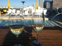 Chardonnay Poolside At The Roof On Wilshire At The Hotel Wilshire In Los Angeles, California.