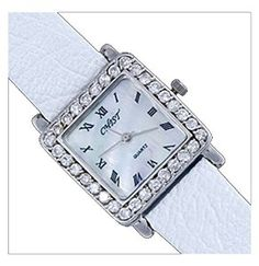 Silver watch, decorated with white zircons. Very elegant and trendy. Expensive Watches, Square Watch, Bracelet Watch, Silver Jewelry, Fashion Accessories, Quartz, Gems, Brooch, Pearls