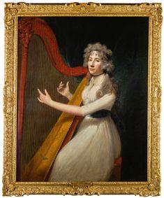 abbott the harpist 18th Century Clothing, Disney Images, Impressionist, Framed Art, Modern Art, Auction, Portrait, Artwork, Harp
