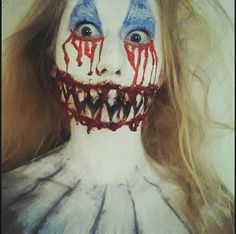 Bloody scary clown makeup  #bloody #scary #horror #scaryclown #makeup