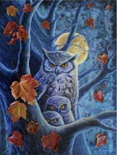 Harvest Moon Owl Illustration