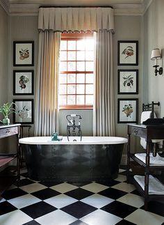 Black and white floors, framed botanicals, curtains, sconce, tub - John Jacob house design interior decorators interior design Bad Inspiration, Bathroom Inspiration, Bathroom Ideas, Bathtub Ideas, Design Bathroom, Home Interior Design, Interior And Exterior, Ideas Baños, Victorian Bathroom