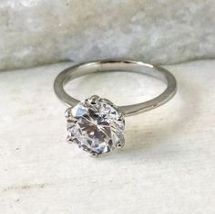 Sterling Silver Round Engagement Ring #BlingJewelry