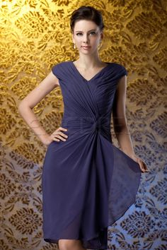 Fashion Ruched Column V-Neck Knee-Length Polinas Mother of The Bride Dress