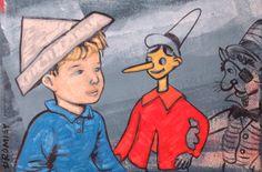 "DAVID BROMLEY ""Boy & Pinocchio"" Original Acrylic on Canvas 60cm x 90cm"