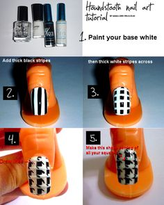 Black and White houndstooth nail art tutorial