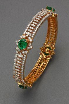 Gold bangles design - Diamond Bangles by ANS – Gold bangles design Diamond Bracelets, Diamond Jewelry, Bangle Bracelets, Gold Bangles Design, Jewelry Design, Indian Jewelry, Antique Jewelry, Fashion Jewelry, Emeralds