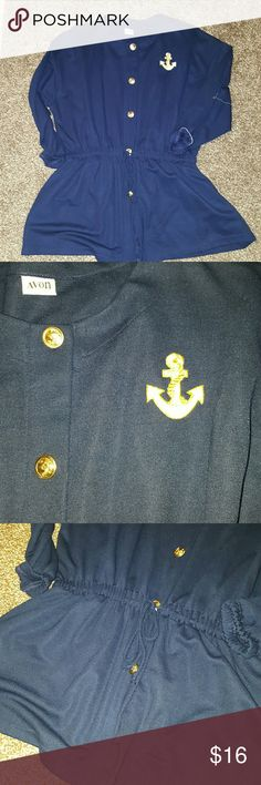 nautical top Navy nautical top can be worn as a cover up like new Avon Tops