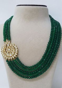 Multi Strand Green Stone 14K Gold Plated CZ Kundan Side Brooch Pendant Necklace #TarunaBiyani #StrandString