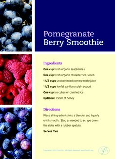 The benefits of healthy food are manifold, and you probably already know that berries are at the top of the Good For You list. Healthy Food List, Healthy Eating, Healthy Recipes, Pomegranate Smoothie, Fertility Foods, Smoothie Ingredients, Plain Yogurt, Health Diet, Diet Tips