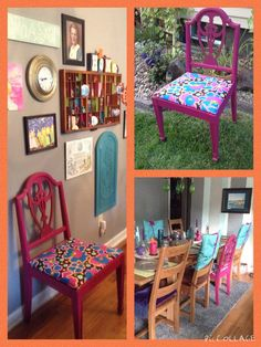 Upcycle: $3 chair. I LOVE mismatched dining room chairs. Shabby gypsy chic. The odd chair covers are pillowcases and scraps of stretchy hot pink velvet to match my piano bench.