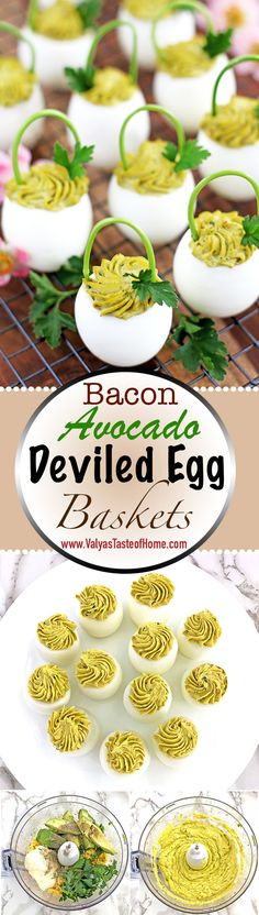 These Bacon Avocado Deviled Egg Baskets are fantastic for Easter! Also, for pretty much any gatherings, or special occasions, as well as for breakfast or lunch box packing. They are unbelievably easy to make, packed with vitamins, protein, and healthy fats, but decor they will bring to the table is gorgeous! Bacon bits add delicious smoky and salty taste. Homemade mayonnaise and avocado add the creamy texture to these treats. | www.valyastasteofhome.com