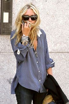 Love the baggy fit/pinstripes/cuffed sleeves + bangles