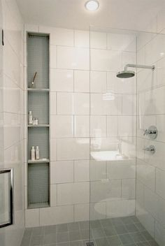 These 20 Tile Shower Ideas Will Have You Planning Your Bathroom Redo Jazz up shower time with some extra style and vision. These 20 tile shower ideas will have you planning your bathroom redo and renovation in no time. Small Bathroom With Shower, Shower Niche, Shower Bathroom, Large Tile Bathroom, Tile Showers, Narrow Bathroom, Stall Shower, Shower Rooms, Shower Walls