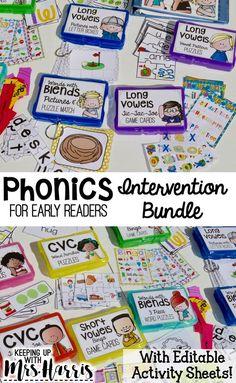 Phonics Interventions Phonics Lessons, Phonics Reading, Jolly Phonics, Teaching Phonics, Kindergarten Literacy, Teaching Activities, Teaching Reading, Guided Reading, Teaching Resources
