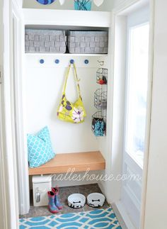 Shoes, coats, and bags have a way of piling up in an entryway, never quite making it to the closet. If that's the case in your home, consider this idea: Ditching the closet door and hanging hooks, baskets, and a bench instead.