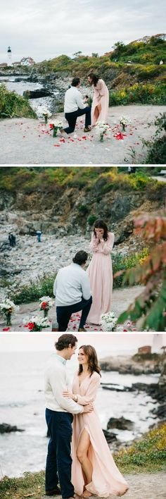 This lighthouse proposal is beyond romantic. She started saying yes before he even got on one knee!