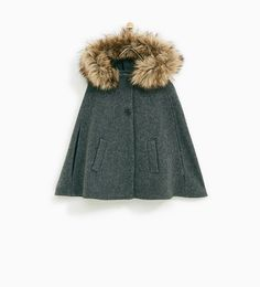 ZARA - KIDS - CAPE WITH FAUX FUR LINED HOOD
