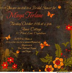 Full of folk flowers and butterflies, this fall folk flowers bridal shower invitation begins your shower with casual elegance. A distressed brown background