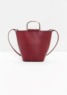 & Other Stories image 1 of Leather Bucket Bag  in Burgundy