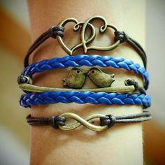 Infinity-love-birds-heart-to-heart-charm-bracelet-bronze