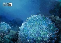 Print advertisement created by BBDO, Philippines for WWF, within the category: Public Interest, NGO. Pollution Information, Brain Coral, Ocean Pollution, Plastic Pollution, Ad Of The World, Campaign Posters, Recycled Art, Global Warming, Installation Art