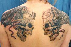 Grey Ink Demon Skull And Angel Skull Tattoo On Back Shoulders